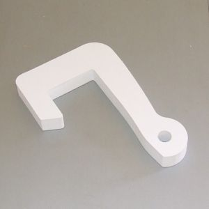 White plastic side fender hook