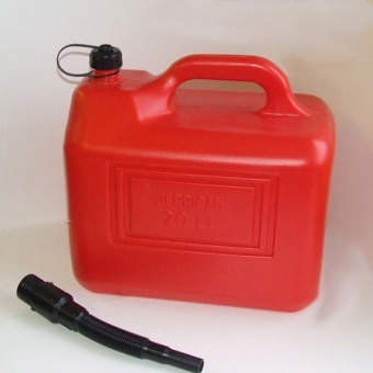 Red plastic jerry can 20 litre